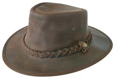 1c6fccf581ea4 Explorer Brown Leather Bush Hat from Cotswold Country Hats. Small