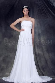 Dresswe.comサプライ品魅力的な帝国裁判所の列車ストラップレスのルフエスエンジェリアのウェディングドレス  ビーチウェディングドレス