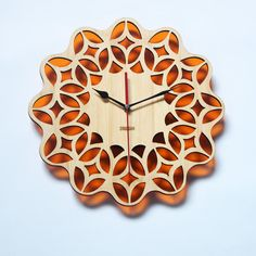Bamboo Retro Orange Wall Clock   60s Floral by HOMELOO on Etsy, $49.99