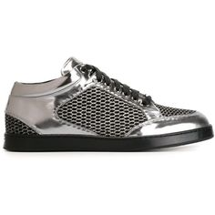 Jimmy Choo Miami Sneakers (455 CAD) ❤ liked on Polyvore featuring shoes, sneakers, metallic, leather sneakers, lace up shoes, rubber sole shoes, flat shoes and metallic sneakers