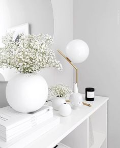This all white modern interior features the FLOS IC Lights T, which fits in seamlessly with the white accents and accessories. Modern Interior, Interior Styling, Interior Decorating, Interior Design, Living Room Decor Inspiration, Interior Inspiration, Diy Home Decor On A Budget, Scandinavian Home, My New Room