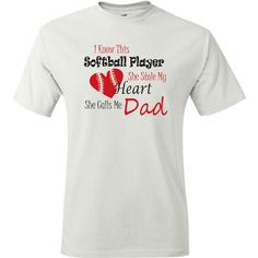 Softball dad shirt. White or grey. Proud softball dad t shirt. Softball player stole my heart, she calls me dad.  Pink pig printing by PinkPigPrinting on Etsy