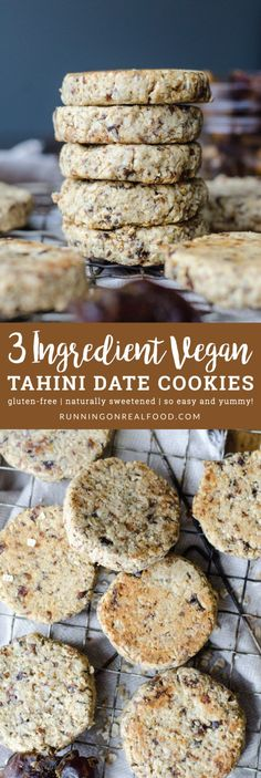 You only need 3 ingredients to make these delicious vegan date tahini cookies: oats, dates and tahini. They're gluten-free, oil-free, naturally sweetened and have the most amazing flavour. Just a quick prep and 10 minutes of baking. Vegan Dessert Recipes, Vegan Sweets, Dairy Free Recipes, Whole Food Recipes, Snack Recipes, Bar Recipes, Sweet Recipes, Cookies Gluten Free, Healthy Cookies