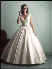 Hot Sale New Satin Wedding Dress V-Neck and V Back Ball Gown Custom Made B162