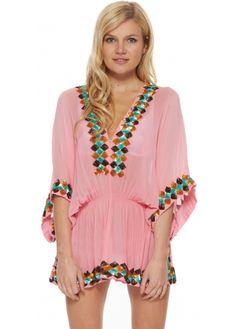 Lindsey Brown Manhattan Pink Silk Kaftan Top With Aqua Pink & Honey Sequins