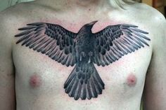 crow chest tattoo -