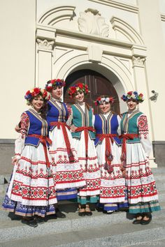 """The folk group """"Bliskavitsa"""" in national costumes, Minsk, Belarus. Photo by Alexey Pavluts Spanish Costume, Mexican Costume, Folk Costume, Republic Of Belarus, European People, Visit Russia, Art Populaire, World Cultures, Traditional Dresses"""