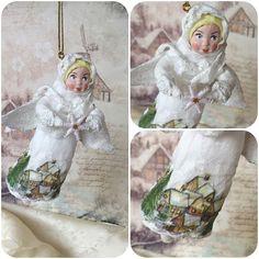 "Ватная игрушка ""Снежный ангел Настенька"" #annettedecor #ватнаяигрушка #хендмейд #handmade #новыйгод #рождество #елочнаяигрушка #игрушканаелку #авторскаяигрушка #ручнаяработа #ватнаяигрушканаёлку"