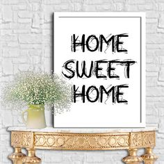 Home Sweet Home Print Wall Decor Poster Calligraphy Print Digital Print Ouote Print Digital Typography Poster Typography Art 8X10 11x14 by sweetdownload on Etsy