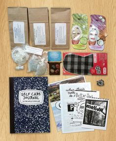 DIY self started kit: face masks, poetry, gratitude journal, essential oils, scented candle, candy treats, etc.