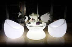 Stunning glowing furniture & decor ideas for luxury hotel, nightclub, lounge, bar, restaurant, property & film staging, event, wedding, party, tradeshow, etc.
