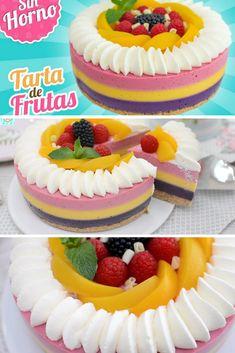 Tarta de frutas sin horno y muy colorida Merengue Cake, Dessert Recipes, Desserts, Rice Krispies, Cupcake Cakes, Fondant, Birthday Cake, Tasty, Sweet