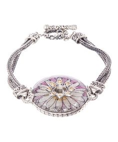 $119.99 Nice! Love this Pink Crushed Gemstone & Sterling Silver Flower Bracelet on #zulily! #zulilyfinds