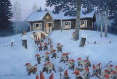 Dance at Jomsborg. Watercolor by Kjell Midthun, Norway. A 'Nisse' is not exactly… Norwegian Christmas, Scandinavian Christmas, Scandinavian Design, Thomas Kinkade, Baumgarten, Photo Images, Gnome House, Thinking Day, All Nature