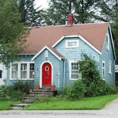 My Blue House would look fantastic with a red door! Light Blue Houses, Sell My House Fast, 1940s Home, We Buy Houses, Cottage Exterior, Craftsman Style Homes, Exterior Colors, Exterior Paint, Cottage Style