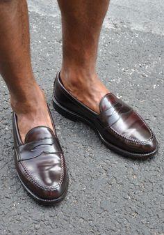 Alden cordovan penny loafers.