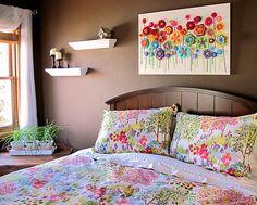 DIY Crochet Button Floral Wall Art2