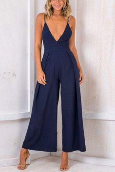 Nadafair Sleeveless Deep V Neck Backless Bow Sexy Jumpsuit Women Wide Leg Pants Casual Rompers Loose Overalls Backless Jumpsuit, Casual Jumpsuit, Black Jumpsuit, Sparkly Jumpsuit, Jumpsuit Outfit, Long Jumpsuits, Jumpsuits For Women, Overall Jumpsuit, Denim Overall