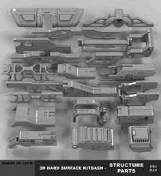 ArtStation - 3d Hard Surface Kitbash - Structure Parts, Aaron Deleon