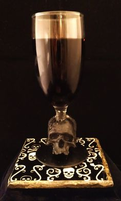 Halloween wine glass with skull stem REAL GLASS by Urbanhardwear, $20.00