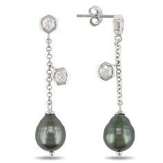 Sterling Silver Tahitian Cultured Pearl and Cubic Zirconia Dangle Earrings Amazon Curated Collection. $57.00. Made in China. Save 60% Off!