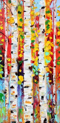 Original oil painting Birch Trees Fall landscape by Karensfineart
