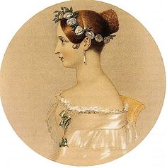 This and other portraits show that Queen Victoria was fond of bun hairdos and floral headdresses. Victoria Queen Of England, Queen Victoria Family, Victoria Reign, Queen Victoria Prince Albert, Victoria And Albert, Princess Victoria, Uk History, British History, Jena