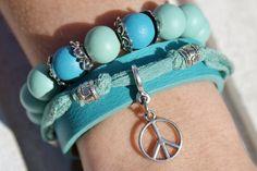 Armband leer peace turquoise
