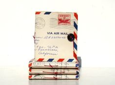 Missing You - vintage airmail paper and cover - Envelope mini-journal. $10.00, via Etsy.
