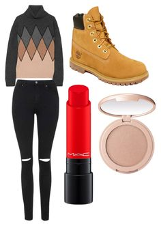 """Sans titre #3899"" by yldr-merve ❤ liked on Polyvore featuring Prada, Topshop, Timberland, MAC Cosmetics and tarte"