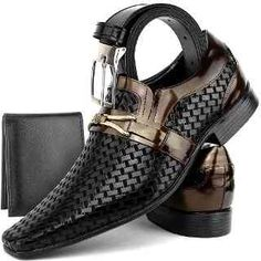 Sapato Social Masculino Couro Stilo Italiano +cinto+carteira - R$ 129,90 em Mercado Livre
