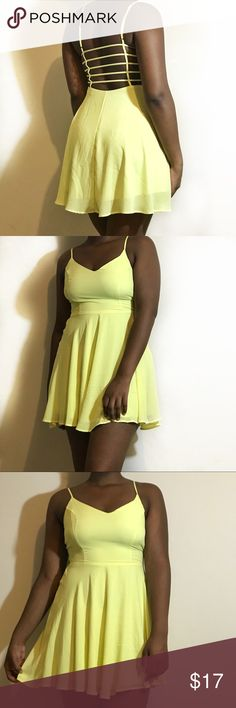{Lush} Neon Green Backless Flowy Sleeveless Dress Pretty lush neon green yellow backless and sleeveless dress is great condition. Size Small. Lush Dresses Backless