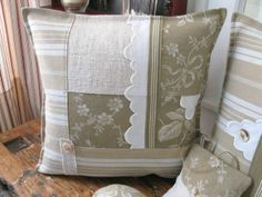 ***Several Patchwork Throw Pillows with lace