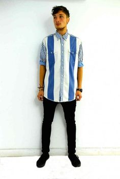 Vintage striped denim Levi's shirt. Click to buy!