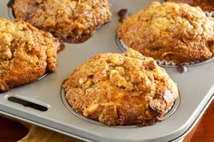 Wake up to the warm smell of Banana-Pecan Morning Muffins. Muffin Recipes, Breakfast Recipes, Dessert Recipes, Healthy Baking, Healthy Treats, Banana Oat Muffins, Banana Nut, Veggie Muffins, Cinnamon Muffins