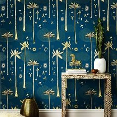 This cosmic desert teal wallpaper pattern is hand screen printed in Chicago on coated paper and manufactured in the USA. Our high-quality, designer wallpaper is extremely durable. Teal Wallpaper Patterns, Modern Wallpaper, Designer Wallpaper, Hygge And West, Teal And Gold, Modern Interior Design, Decoration, Cosmic, Interior Inspiration