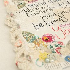 House rules close up Textile Artists, Fabric Art, Crochet Necklace, Textiles, House Rules, Embroidery, Sewing, Clever, Crafts