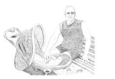 My friend, Derek - drawn free-hand on Cintiq in pencil mode