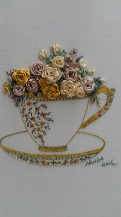Wonderful Ribbon Embroidery Flowers by Hand Ideas. Enchanting Ribbon Embroidery Flowers by Hand Ideas. Learn Embroidery, Hand Embroidery Stitches, Crewel Embroidery, Hand Embroidery Designs, Embroidery Techniques, Embroidery Kits, Embroidery Patterns Free, Embroidery Supplies, Brother Embroidery