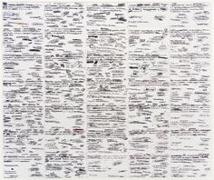 John Waters, 35 Days, 2003,  Color Durst Lambda digital photographic print,  27 1/2 x 31 1/4 inches (69.9 x 79.4 cm).   35 Days, from 2003, is a photographic print of a drawing comprised of thirty-five index cards.
