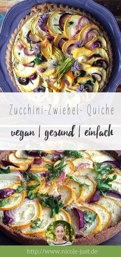 Vegan backen geht natürlich auch herzhaft! Noch dazu ist diese vegane Quiche mit Zucchini und roten Zwiebeln gesund. Im Boden werden knackige Walnüsse und kerniges Dinkelvollkornmehl verarbeitet.