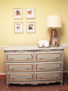 Refurbished, painted vintage dresser for nursery. #nursery