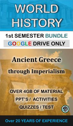 World History First Semester Ancient Greece-Imperialism Activities Bundle History Lesson Plans, World History Lessons, Social Studies Activities, History Activities, Tutoring Business, Middle School History, Secondary Resources, Grades, European American