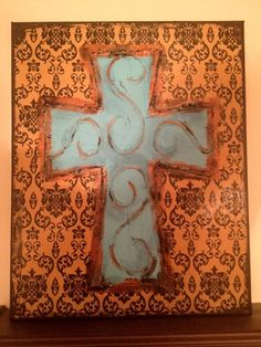 Textured Cross Canvas Painting by ClassyCanvas on Etsy