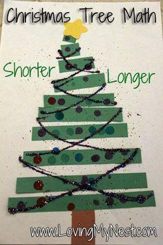 Christmas Tree Math, longer and shorter