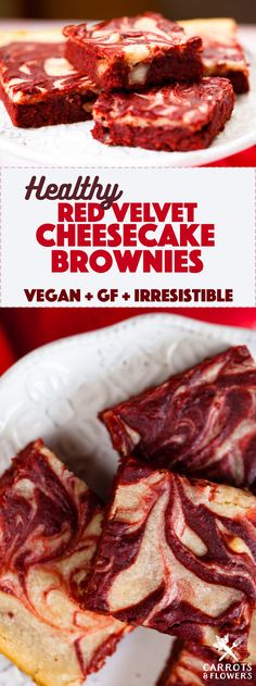 IRRESISTIBLE Vegan Red Velvet Cheesecake Brownies that are actually HEALTHY! Flourless, gluten-free, and packed with protein | They make the perfect quick holiday dessert recipe | carrotsandflowers.com