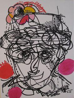 "Saatchi Online Artist Regia Marinho; Painting, ""Woman Hat Face Portrait Original abstract art painting vivid color modern"" #art 18""x24"" Modern Art, Contemporary Art, Self Portrait Art, Abstract Photography, Art Google, Vivid Colors, Saatchi Art, Original Paintings, Original Art"