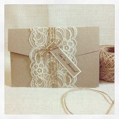 Rustic Lace Wedding Invitation sample