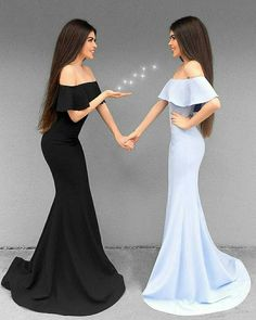 Off Shoulder Mermaid Prom Dress Elegant Simple Long Formal Evening Party Gowns CR 7533 Twin Outfits, Cute Outfits, Matching Outfits, Elegant Dresses, Formal Dresses, Wedding Dresses, Best Friend Outfits, Evening Party Gowns, Mermaid Prom Dresses