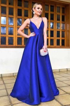 54cfa64229c A-Line Spaghetti Straps Floor Length Royal Blue Satin Prom Dress PG740   floorlength